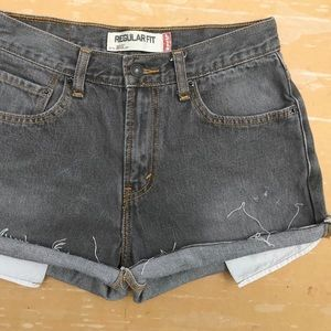 Levi's 505 High Waisted Gray Denim Shorts
